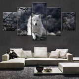 Black & White Wolf Animal Framed 5 Piece Canvas Wall Art - 5 Panel Canvas Wall Art - FabTastic.Co