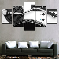 DJ Record Player Deejay Framed 5 Piece Music Canvas Wall Art Image Picture Wallpaper Mural Artwork Poster Decor Print Painting Photography