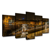 Danube River Budapest Hungary At Night European City Framed 5 Piece Cityscape Canvas Wall Art Image Picture Wallpaper Mural Artwork Poster Decor Print Painting Photography