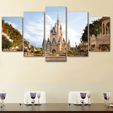 Walt Disneyland Castle Framed 5 Piece Canvas Wall Art Painting Wallpaper Poster Picture Print Photo Decor