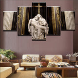 Christian Jesus Christ & Mother Mary Faith & Religion Sebastiano Statue Framed 5 Piece Panel Canvas Wall Art Print