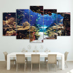Sea World Under Ocean Water Fish & Coral Reefs Framed 5 Piece Canvas Wall Art - 5 Panel Canvas Wall Art - FabTastic.Co