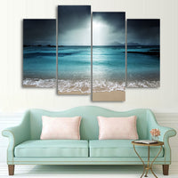 Ocean Beach Waves & Sand Seascape Framed 4 Piece Canvas Wall Art Painting Wallpaper Poster Picture Print Photo Decor
