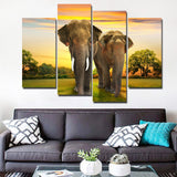 African Elephants In Nature Framed 4 Piece Canvas Wall Art Painting Wallpaper Poster Picture Print Photo Decor