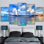 Seascape Ocean Sea & Blue Sky Clouds Framed 5 Piece Canvas Wall Art - 5 Panel Canvas Wall Art - FabTastic.Co