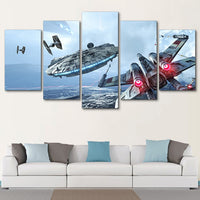 Star Wars Movie Spaceship Battle Scene Framed 5 Piece Canvas Wall Art Painting Poster Picture Print Photo