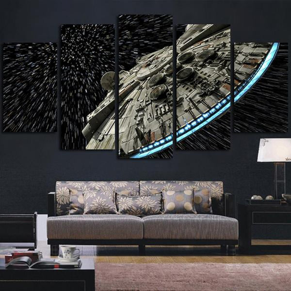 Star Wars Movie Millennium Falcon Framed 5 Piece Panel Canvas Wall Art Print
