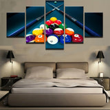 Pool & Billiards Cues & Balls Sports Framed 5 Piece Panel Canvas Wall Art Print - 5 Panel Canvas Wall Art - FabTastic.Co