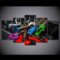 Colorful Rock Music Band Electric Guitar Musician Framed 5 Piece Canvas Wall Art Painting Wallpaper Poster Picture Print Photo Decor