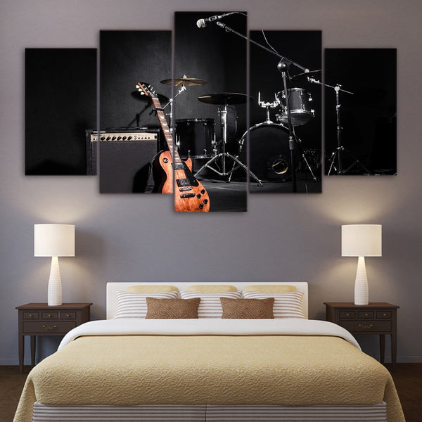 Electric Guitar Mic Amp & Drums Musician Band Framed 5 Piece Music Canvas Wall Art Painting Wallpaper Poster Picture Print Photo Decor