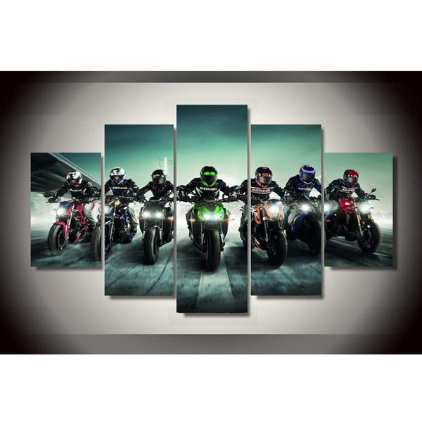 Motorcycle Racers Motorbike Framed 5 Piece Canvas Wall Art - 5 Panel Canvas Wall Art - FabTastic.Co