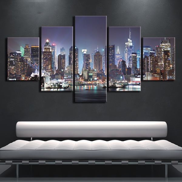 New York City NYC Night Skyline Framed 5 Piece Canvas Wall Art Painting Wallpaper Poster Picture Print Photo Decor