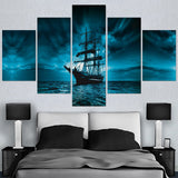 Pirate Ship On Dark Water Open Ocean Seas Framed 5 Piece Panel Canvas Wall Art Print - 5 Panel Canvas Wall Art - FabTastic.Co