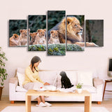 Lion & Cubs Animal Framed 5 Piece Canvas Wall Art - 5 Panel Canvas Wall Art - FabTastic.Co