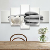Zen Stone & White Flower On Water Framed 5 Piece Canvas Wall Art - 5 Panel Canvas Wall Art - FabTastic.Co