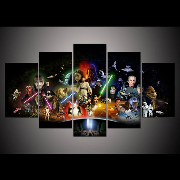 Star Wars Movie Characters Framed 5 Piece Panel Canvas Wall Art Print
