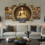 Golden Buddha Statue Framed 5 Piece Canvas Wall Art