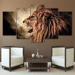 Lion Framed 5 Piece Canvas Wall Art - 5 Panel Canvas Wall Art - FabTastic.Co