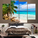 Tropical Palm Tree Ocean Sandy Beach Seascape Framed 4 Piece Canvas Wall Art Painting Wallpaper Poster Picture Print Photo Decor