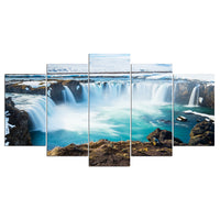 Beautiful Rocky Iceland Godafoss Waterfall Framed 5 Piece Canvas Wall Art - 5 Panel Canvas Wall Art - FabTastic.Co