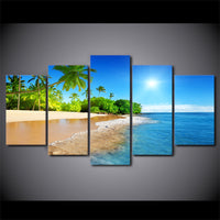 Beautiful Tropical Ocean Beach Palm Trees Framed 5 Piece Canvas Wall Art - 5 Panel Canvas Wall Art - FabTastic.Co