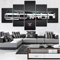 Nissan Skyline GTR Evolution Framed 5 Piece Sports Car Canvas Wall Art Painting Wallpaper Poster Picture Print Photo Decor