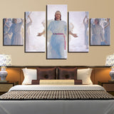 Jesus Christ In Cloud With Angels & Wings Christian Framed 5 Piece Canvas Wall Art - 5 Panel Canvas Wall Art - FabTastic.Co