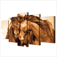 Loving Horses Animal Framed 5 Piece Canvas Wall Art - 5 Panel Canvas Wall Art - FabTastic.Co