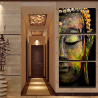 Buddhism Zen Buddha Face Statue Framed 5 Piece Canvas Wall Art Painting Wallpaper Decor Poster Picture Print
