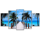 Beautiful Bali Ocean Sea Blue Tropical Palm Tree Beach & Clouds Framed 5 Piece Panel Canvas Wall Art Print