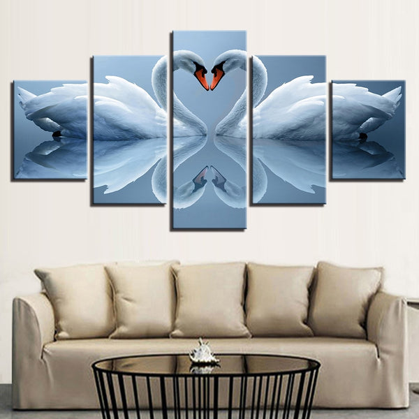 White Swan Couple Framed 5 Piece Canvas Wall Art - 5 Panel Canvas Wall Art - FabTastic.Co