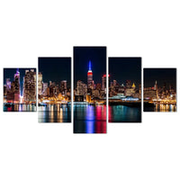 Beautiful NYC New York City Night Lights Skyline America USA Framed 5 Piece Panel Canvas Wall Art Print
