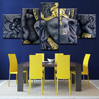 Ganesh Statue East Indian Hindu Painting Framed 5 Piece Canvas Wall Art - 5 Panel Canvas Wall Art - FabTastic.Co