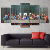 Last Supper Of Jesus Christ & 12 Apostles Vintage Christian Painting Framed 5 Piece Canvas Wall Art - 5 Panel Canvas Wall Art - FabTastic.Co