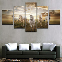 Running Steed Horses With Clouds & Sun Framed 5 Piece Canvas Wall Art - 5 Panel Canvas Wall Art - FabTastic.Co