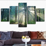 Beautiful Sunrise Sun Rays In Tree Forest Framed 5 Piece Canvas Wall Art - 5 Panel Canvas Wall Art - FabTastic.Co