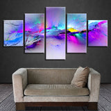 Colorful & Vibrant Modern Abstract Graffiti Framed 5 Piece Canvas Wall Art - 5 Panel Canvas Wall Art - FabTastic.Co