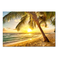 Tropical Ocean Beach Sunrise Sunset Seascape Framed 1 Panel Piece Canvas Wall Art Painting Wallpaper Poster Picture Print Photo Decor