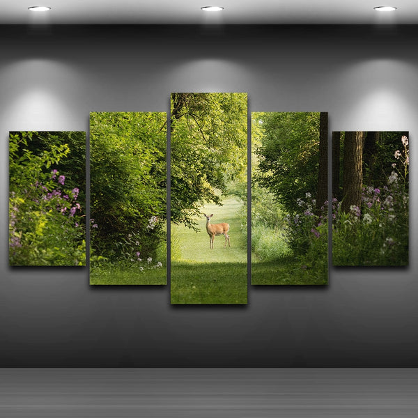 Deer In Summer Forest Nature Framed 5 Piece Canvas Wall Art Painting Wallpaper Poster Picture Print Photo Decor