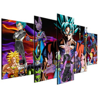 Dragon Ball Z Cartoon Characters Anime Framed 5 Piece Canvas Wall Art Painting Wallpaper Poster Picture Print Photo Decor