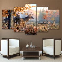 Natural Tree Forest Deer Animals Framed 5 Piece Panel Canvas Wall Art Print - 5 Panel Canvas Wall Art - FabTastic.Co