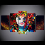 East Indian Hindu God Radha Krishna Hinduism Framed 5 Piece Canvas Wall Art Painting Wallpaper Poster Picture Print Photo Decor