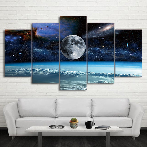 Outer Space Galaxies & Universe With Earth Moon & Stars Framed 5 Piece Canvas Wall Art - 5 Panel Canvas Wall Art - FabTastic.Co
