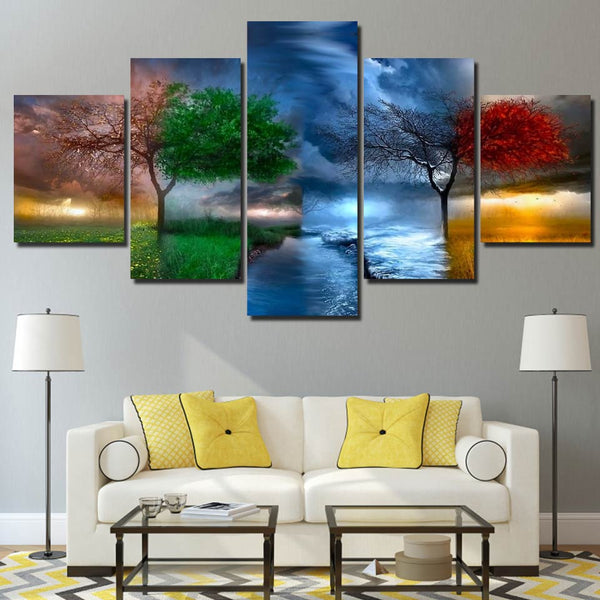 4 Seasons Changing Colors Tree & River Framed 5 Piece Canvas Wall Art