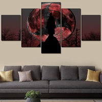 Anime Naruto Itachi Uchiha Moon Framed 5 Piece Canvas Wall Art Image Picture Wallpaper Mural Decoration Artwork Poster Decor Print Painting Photography