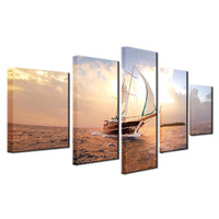 Ocean Sailing Boat On The Sea Framed 5 Piece Canvas Wall Art - 5 Panel Canvas Wall Art - FabTastic.Co
