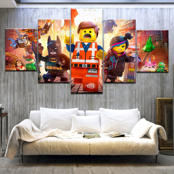 Kids Lego Movie Framed 5 Piece Canvas Wall Art - 5 Panel Canvas Wall Art - FabTastic.Co