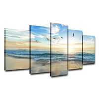 Sandy Sea Beach & Ocean Waves With Clouds Sun & Seagull Birds Framed 5 Piece Canvas Wall Art - 5 Panel Canvas Wall Art - FabTastic.Co
