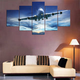 Airplane Jumbo Jet In Cloudy Sky Framed 5 Piece Canvas Wall Art Painting Poster Picture Print Photo Artwork Decor