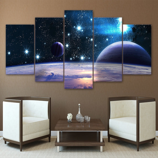 Starry Universe Galaxy Outer Space & Planets Framed 5 Piece Panel Canvas Wall Art Print